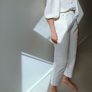 Zara White Caia Tapered Raw Hem Mom Jeans